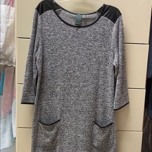 Grey dress with black leather detail